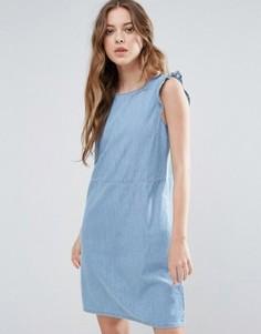 Джинсовое платье с рукавами-оборками Blend She Mila - Синий