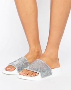 Серебристые сандалии с голографической отделкой пайетками TheWhiteBrand - Серебряный