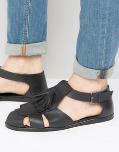 Черные кожаные сандалии с кисточками ASOS - Черный