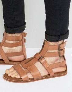 Светло-коричневые кожаные гладиаторские сандалии на молнии ASOS - Рыжий