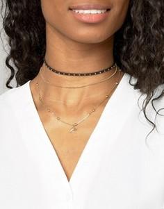 Многорядное короткое ожерелье с шариковой цепочкой и заклепками ASOS - Золотой