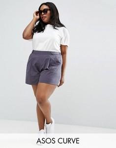 Льняная юбка-шорты со складками ASOS CURVE - Серый
