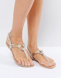 Блестящие сандалии с декоративыми узелками New Look - Золотой