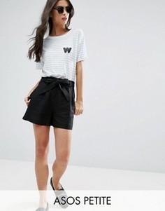 Льняные шорты с поясом ASOS PETITE - Черный