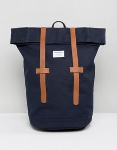 Рюкзак ролл-топ из хлопковой парусины с кожаной отделкой Sandqvist Sonja - Синий