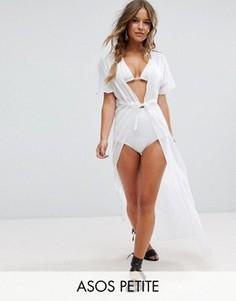 Длинная пляжная рубашка в полоску с поясом ASOS PETITE - Белый