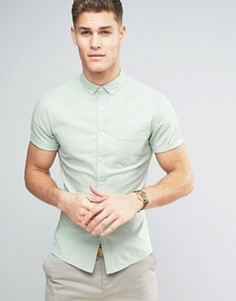 Зеленая оксфордская рубашка скинни ASOS - Зеленый
