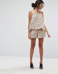 Комбинируемые плиссированные шорты с цветочным принтом J.O.A - Мульти J.O.A.