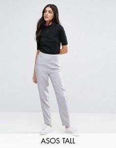 Фактурные брюки из ткани с эффектом льна ASOS TALL - Серый