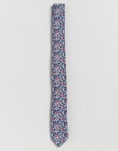 Узкий галстук с мелким цветочным принтом ASOS - Синий
