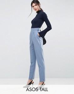 Суженные книзу брюки с завышенной талией ASOS TALL - Синий