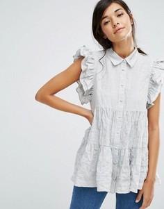 Свободкая рубашка с оборками на плечах Lost Ink - Серый
