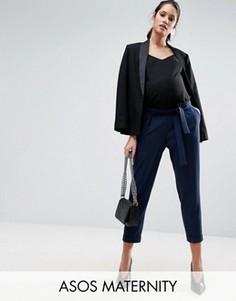Тканые брюки‑галифе для беременных с поясом‑оби ASOS Maternity - Темно-синий