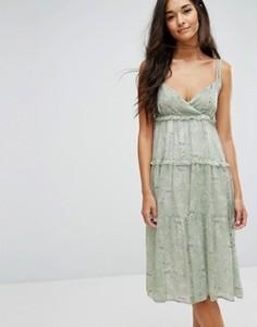 Платье миди с принтом и оборками Lost Ink - Синий