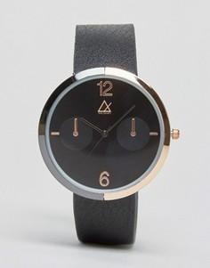 Черные часы с золотисто-розовой отделкой и корпусом из разных металлов ASOS - Черный
