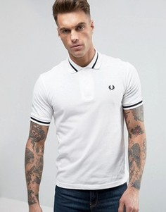 Белая футболка-поло из пике с темно-синей полосой Fred Perry REISSUES M2 - Белый