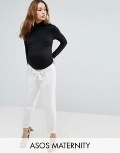 Тканые брюки‑галифе для беременных с поясом‑оби ASOS Maternity - Белый
