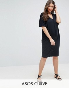 Свободное платье с планкой на пуговицах ASOS CURVE - Черный