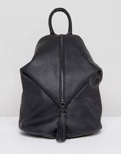 Рюкзак с застежкой-карабин и молнией спереди ASOS - Черный