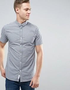 Узкая рубашка в клетку с короткими рукавами Jack & Jones - Черный