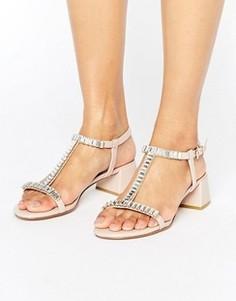 Босоножки на блочном каблуке телесного цвета Dune Malie - Розовый