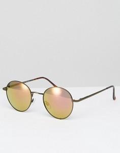 Круглые солнцезащитные очки с зеркальными стеклами AJ Morgan - Коричневый