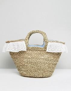 Соломенная пляжная сумка с подкладкой в клеточку South Beach - Мульти