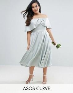 Платье миди для выпускного с вырезом лодочкой ASOS CURVE WEDDING - Зеленый