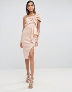 Платье-футляр миди с сетчатым лифом и оборками ASOS - Розовый