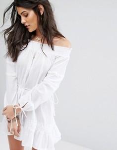 Платье мини с вырезом лодочкой Faithfull Milos - Белый