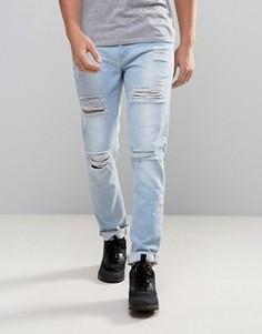 Голубые рваные джинсы скинни ASOS - Синий
