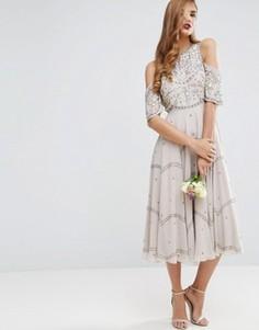 Платье миди с открытыми плечами и цветочной отделкой ASOS WEDDING - Серый