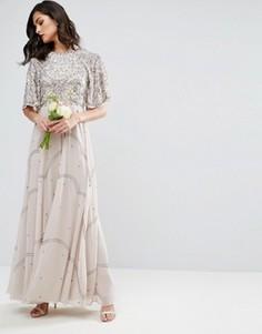 Платье макси с цветочной отделкой и рукавами клеш ASOS WEDDING - Серый