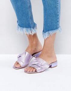 Кожаные сандалии с бантиком ASOS FOGGY - Фиолетовый