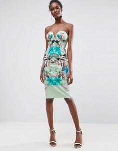 Платье миди бандо с цветочным тропическим принтом и чашечками ASOS - Мульти