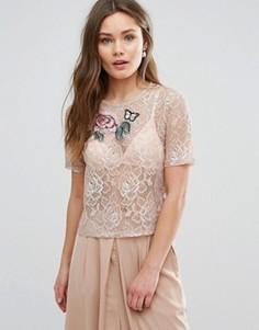 Кружевной топ с цветочной аппликацией New Look - Розовый