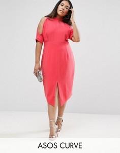 Платье с открытыми плечами ASOS CURVE - Розовый