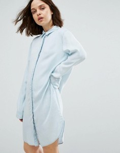 Свободное джинсовое платье-рубашка Weekday - Синий