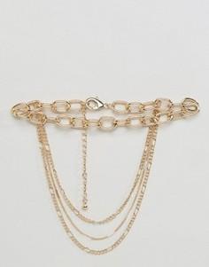 Ожерелье-чокер в несколько рядов Monki - Золотой
