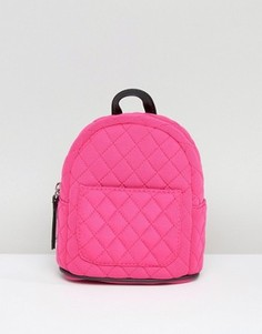 Миниатюрный стеганый рюкзак неонового цвета New Look - Розовый