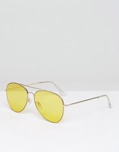 Солнцезащитные очки-авиаторы с желтыми стеклами Monki - Желтый