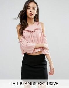 Топ с присборенной отделкой и открытыми плечами Fashion Union Tall - Розовый
