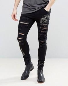 Черные рваные джинсы скинни Liquor & Poker - Синий