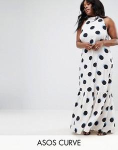 Ярусное платье макси в горошек ASOS CURVE - Мульти