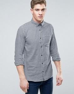 Узкая рубашка в клетку с длинными рукавами и карманом Jack & Jones Originals - Белый