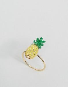 Кольцо с ананасом ASOS - Золотой