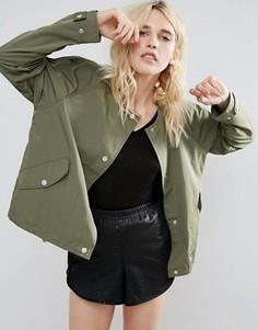 Легкая укороченная куртка без воротника Parka London Siri - Зеленый