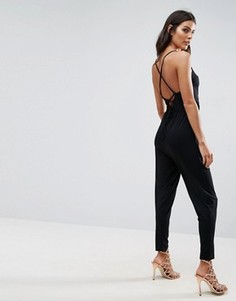 Трикотажный комбинезон с запахом и широкими брюками со складками ASOS - Черный