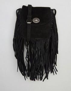Замшевая сумка через плечо с бахромой Pieces - Черный