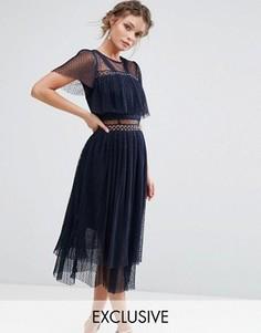 Платье миди с люверсами True Decadence - Темно-синий